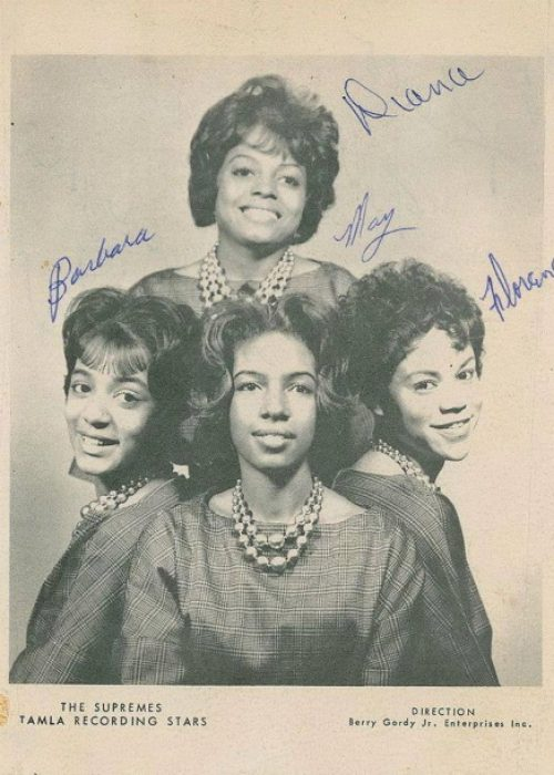 The four Supremes in 1961: Barbara Martin, Mary Wilson, Florence Ballard, and Diana Ross bringing up the rear. Martin would leave in 1962